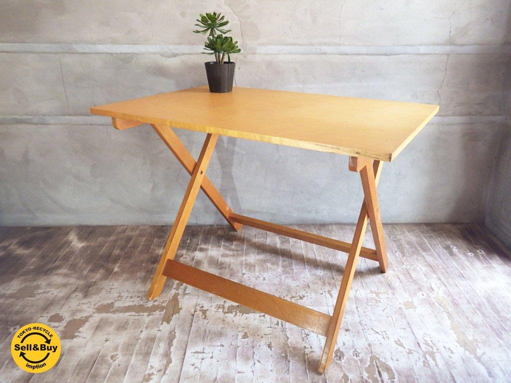 東欧 ビンテージ ナチュラル 折り畳みテーブル ダイニングテーブル♪