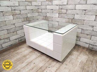 エイチピーデコ H.P.DECO 購入 タイルのコーヒーテーブル ガラス天板 サイドテーブル タイルテーブル キャスター付 ●