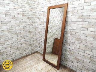 特大 ウォールナット材 ウォールミラー 姿見 全身鏡 壁掛け 高さ180� ●