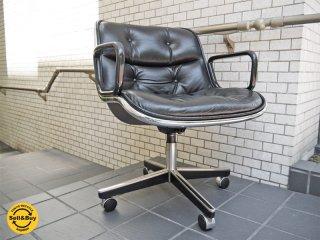 ノール Knoll ポロックチェア Pollock Chair 本革 ブラック 4本脚 エグゼクティブチェア 名作 チャールズ・ポロック ビンテージ ■