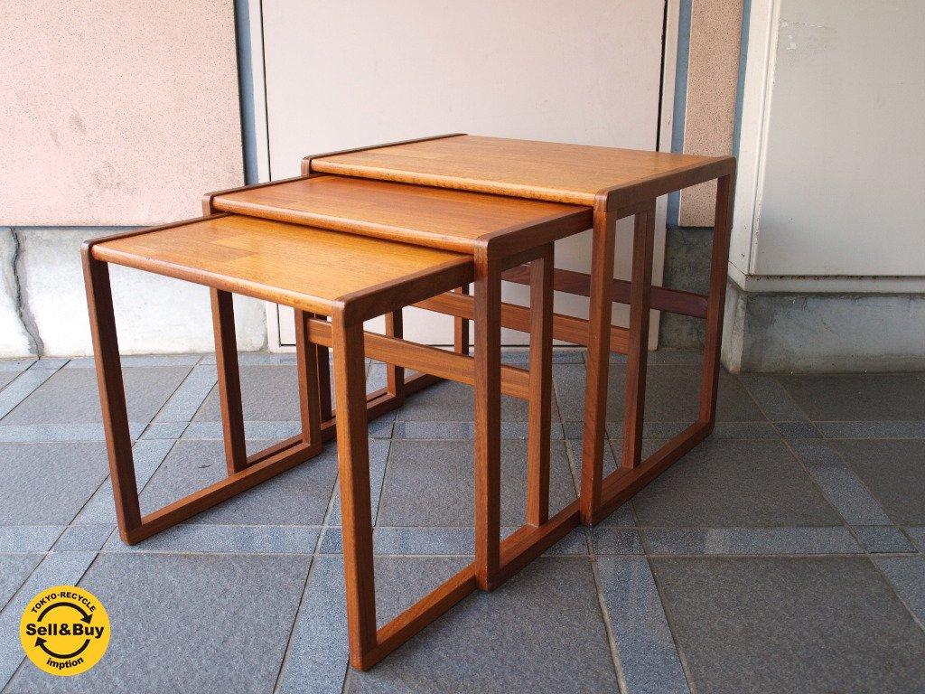 エベネゼル・グーム Ebenezer Gomme ジープラン G-PLAN ビンテージ チーク ネストテーブル イギリス アンティーク 3連テーブル ★