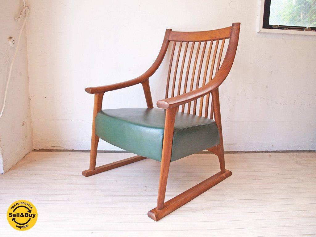 BC工房 だんらん工芸椅子 たたみ脚 ラウンジチェア チーク無垢材 x グリーンレザー A ★