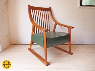 BC工房 だんらん工芸椅子 たたみ脚 ラウンジチェア チーク無垢材 x グリーンレザー B ★