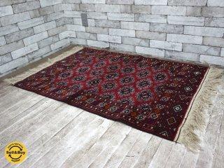 ペルシャ絨毯 トルクメン産 ラグ 絨毯 W133×D81 ●