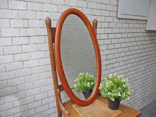 ビンテージ チーク無垢集成材 ウォールミラー 壁掛け オーバル 楕円 高さ67cm ■