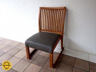 BC工房 無垢チーク材 スタッキングチェア ダイニングチェア おたすけきらきら椅子 廃番希少品 コンビカラー オーダーエンボスシート コンディション良好 A ◇