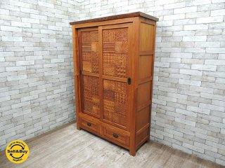 BC工房 絵になる彫刻ボード アフリカンチーク材 無垢材 手彫り彫刻パネル キャビネット 収納棚 食器棚 書棚  ●