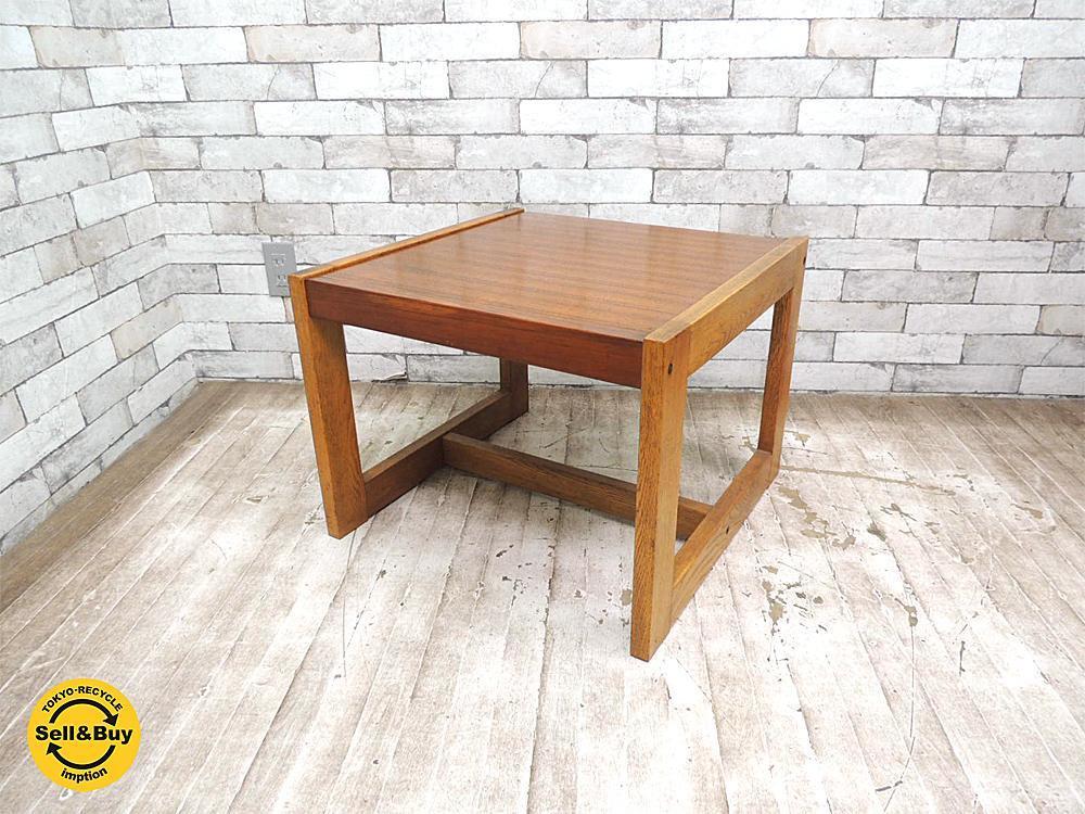 コスガ kosuga ビンテージ サイドテーブル チーク材 x オーク材 北欧スタイル ●