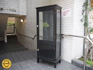 ブラックペイント ケビント ドクターキャビネット 医療棚 ガラス棚 ディスプレイケース 什器 ■