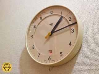 ブラウン BRAUN ヴィンテージ ウォールクロック ABK40 掛け時計 希少 カレンダー付 ディートリッヒ・ルブス・ディーターラムス デザイン ドイツ製 ◎