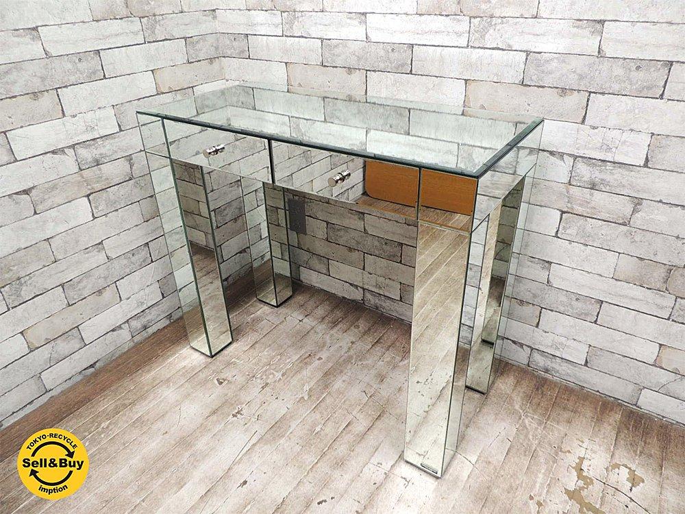 ミラーグラフィックス mirror graphics NEW YORK ビンテージ ミラー張り デスク コンソールテーブル 引き出し2杯 鏡張り 80's 90's モダンファニチャー ●