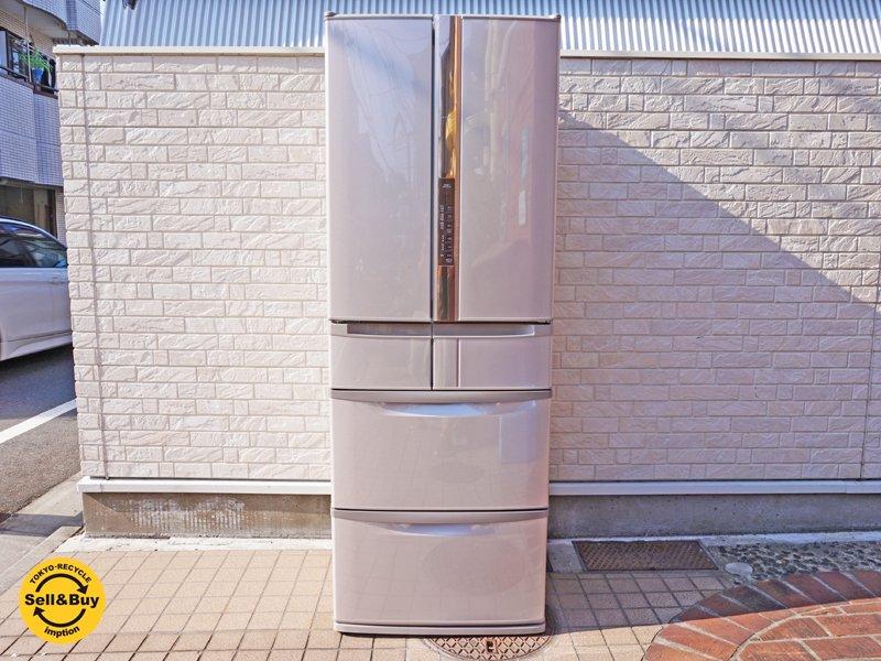 日立 HITACHI ノンフロン冷凍冷蔵庫 440L スリープ保存 真空チルド 6ドア 2013年製 R-SF440CM ソフトブラウン ●