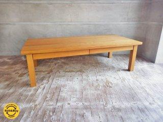 無印良品 MUJI 木製 ローテーブル センターテーブル 引出付 w120cm タモ材 無垢材 シンプルデザイン ♪