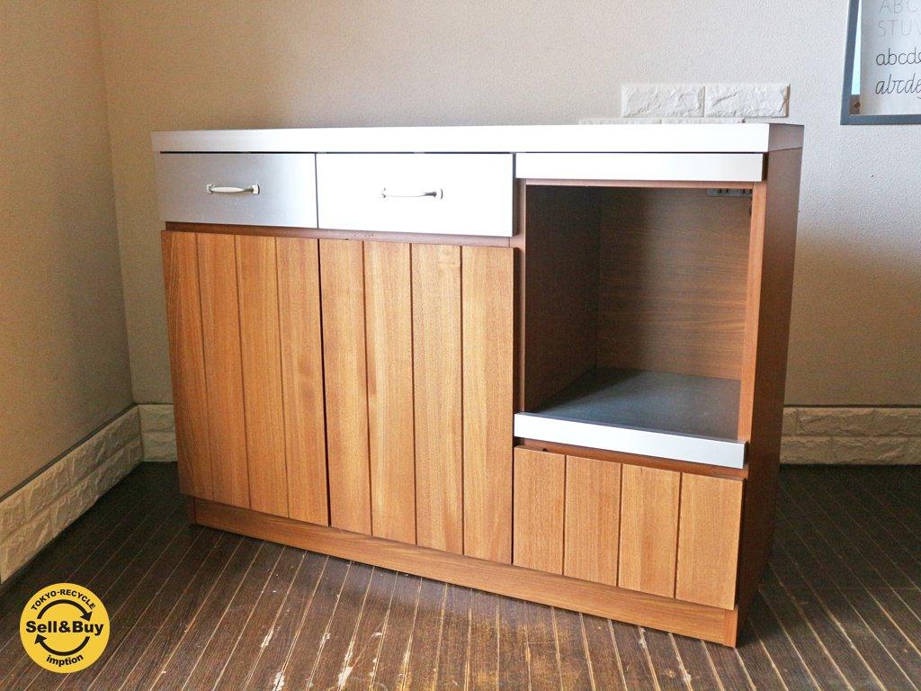 ウニコ unico ストラーダ STRADA キッチンカウンター オープン W1200 ステンレス×アッシュウッド ダークブラウン 食器収納 ◎