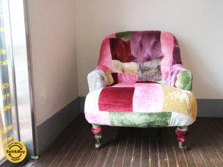 ハロ HALO アンチェア ANNE chair 1P ソファ ベルベットパッチワークボヘム ◎
