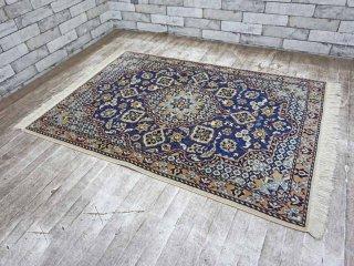 最高級 トルコ絨毯 120×90 ヘレケ産 ウール100% メダリオン アラベスク ●