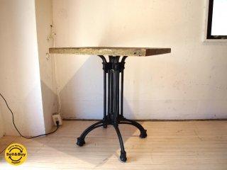 インダストリアル カフェテーブル 古材 × 鋳造鉄脚 オーダー天板 アイアンレッグ ★
