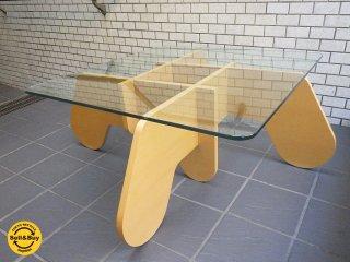ナチュラルモダン ガラス天板×プライウッド リビングセンターテーブル ■