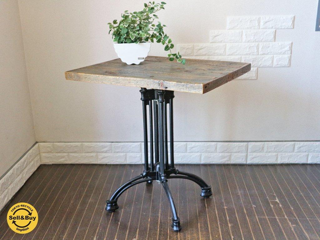 インダストリアル スタイル アイアンレッグ × 古材天板 カフェテーブル E ◎