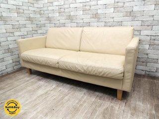 無印良品 MUJI スリムアーム レザーソファ 2.5シーター 本革ソファ シンプルデザイン ●