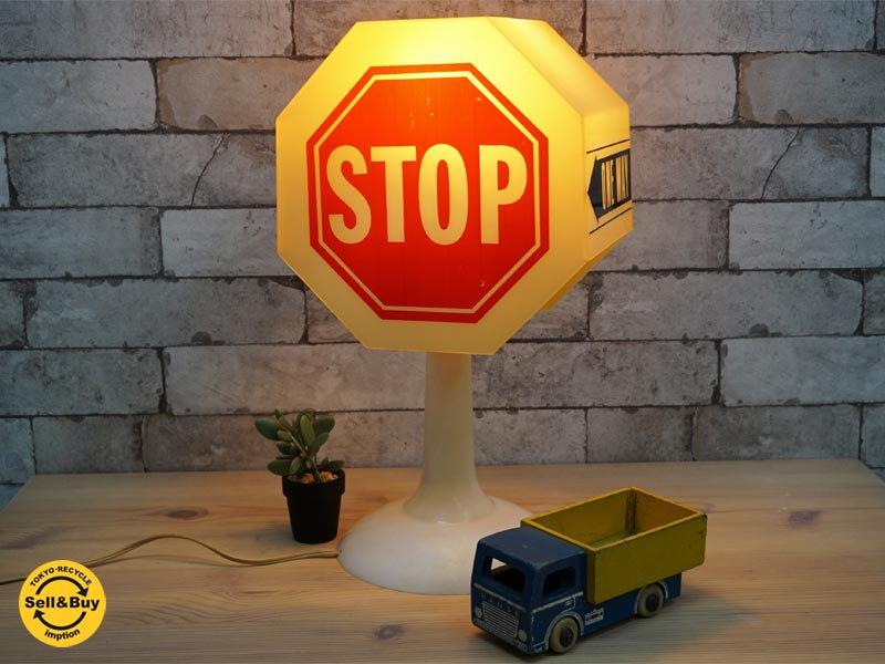 USビンテージ traffic sign テーブルランプ 照明 ●