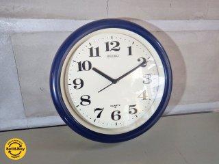 セイコー SEIKO ビンテージ ウォールクロック ブルー × ホワイト 壁掛け時計 クオーツ ♪