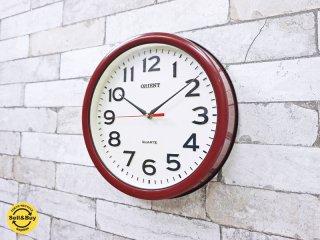 オリエント ORIENT クオーツ QUARTZ ウォールクロック 壁掛け時計 レッド × ホワイト ●