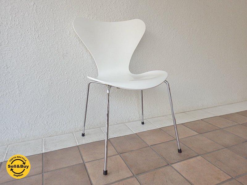 フリッツハンセン Fritz Hansen セブンチェア Seven Chair アルネヤコブセン Arne Jacobsen ホワイトラッカー (定価:¥72,360-/'05.ver) A ◇