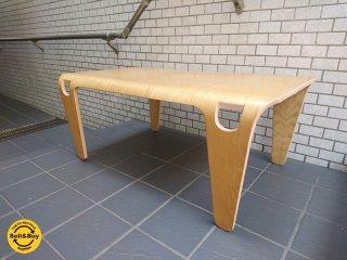 プライウッド リビングテーブル オーク材 一体成型 ナチュラルウッド ■