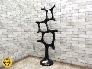 ビンテージ FRP製 木型のオブジェ 黒 アーティスト不明 グラスファイバー 立体作品 置物 小道具 店舗什器 ●