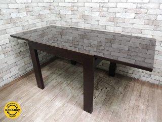 モーダ エン カーサ moda en casa ガラス EX テーブル 伸長式 ダークブラウン ●