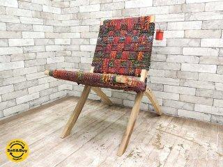 Salvage Crafts 裂き織りロープのフォールディングチェア 木製 折り畳み椅子 リサイクル生地 ラグ アジアン家具 インド ●