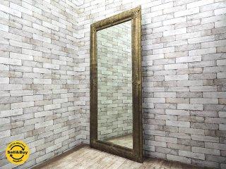 US 金属板フレーム 大型鏡 ゴールドカラー ミラー 姿見 店舗什器 ●