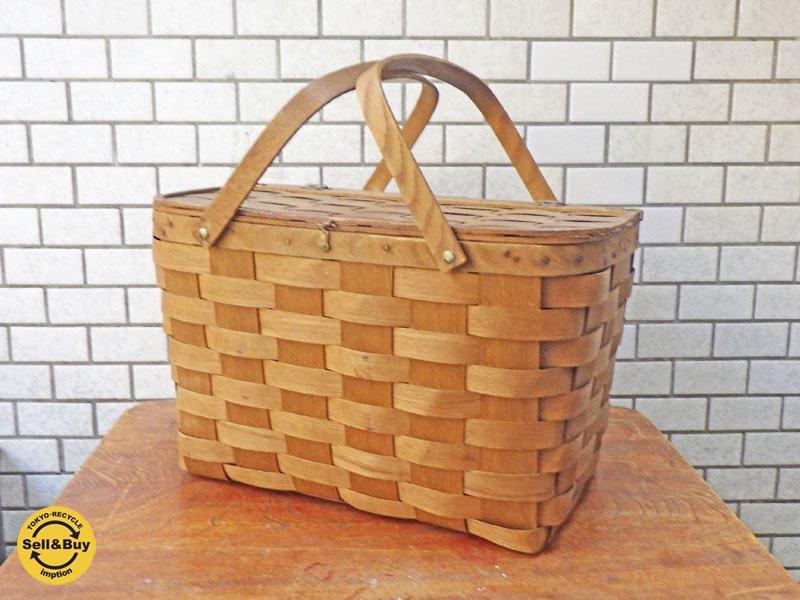 Basket Ville 手織りピクニックバスケット パイン材 USA ビンテージ ■