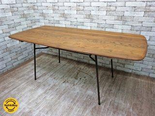 リメイク アーコール天板 × アイアンレッグ ダイニングテーブル インダストリアルスタイル ●