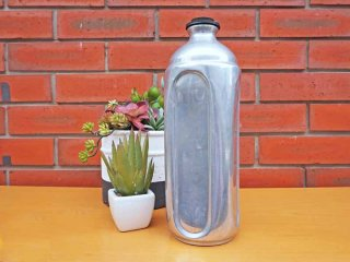 ビンテージ アルミニウム製 ブラスキャップ フラスコ ボトル インダストリアル ●