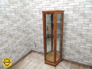 ナラ材 キュリオケース ガラスキャビネット 飾り棚 コレクションケース ●