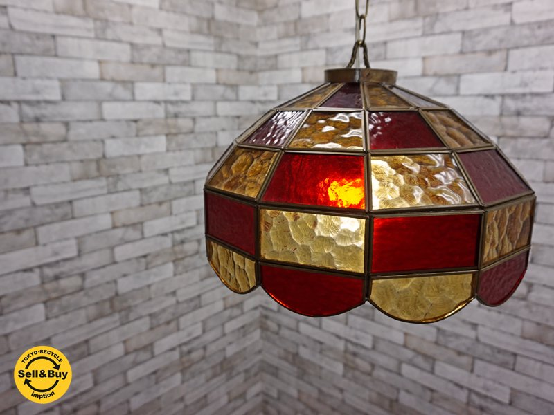 USビンテージ ステンドグラス シェード ペンダントライト 1灯 照明 ●