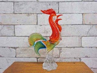 ムラーノ murano ベルグラス BELL GLASS ニワトリ オブジェ 雄鶏 ビンテージ ●