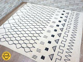 ウニコ unico リトス LITHOS コットンラグ ベージュ 幾何学模様 200cm×220cm ●
