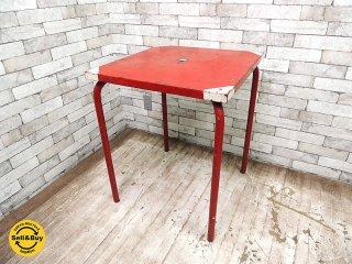 フランスビンテージ スチール製 ペインテッド カフェテーブル ガーデンテーブル パラソルホール有 インダストリアル ●