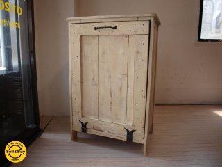 温故知新 スキップアビートガーデン Skip a Beat Garden 木製トラッシュボックス ゴミ箱入れ 古材パイン シャビーペイント ★