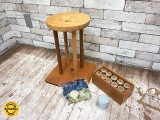 長沼静きもの学院 組紐 丸台 駒20個 錘15枚 古道具 日本伝統工芸 ●