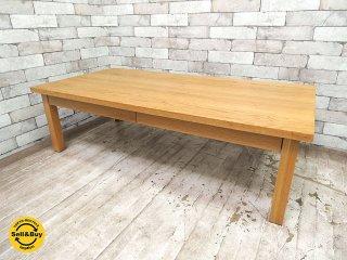 無印良品 MUJI 木製ローテーブル 引出付 w120cm オーク材 ナチュラル シンプルデザイン ●