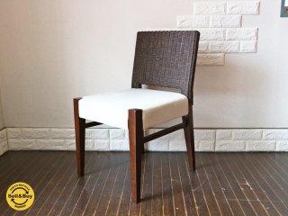 エーフラット a.flat ラタンチェア Rattan chair v06 背面ラタンザル編み 座面カバー ◎
