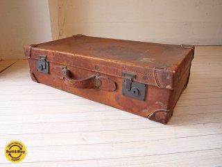 ビンテージ Vintage レザー トランク ボックス ディスプレイ 什器 オブジェ 撮影 A ★