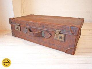 ビンテージ Vintage レザー トランク ボックス ディスプレイ 什器 オブジェ 撮影 B ★