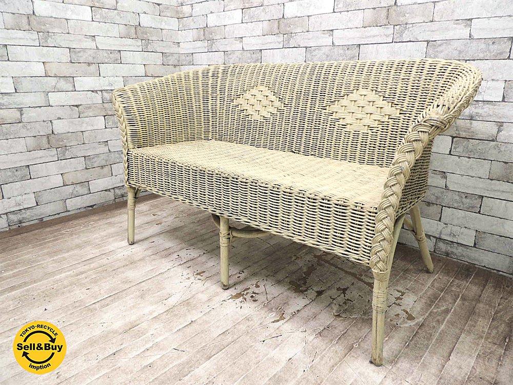 UKビンテージ ペインテッド 2人掛け ラタンベンチ チェア 籐椅子 英国家具 アンティーク ●