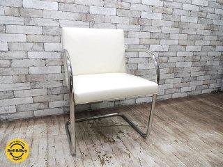 ノール Knoll ブルーノ チューブラー アームチェア ホワイトレザー 美品 フレーム刻印有 ミース・ファン・デル・ローエ ノル バウハウス B ●