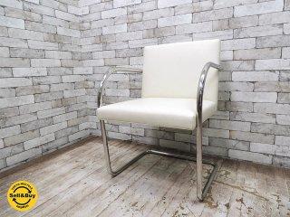 ノール Knoll ブルーノ チューブラー アームチェア ホワイトレザー 美品 フレーム刻印有 ミース・ファン・デル・ローエ ノル バウハウス A ●